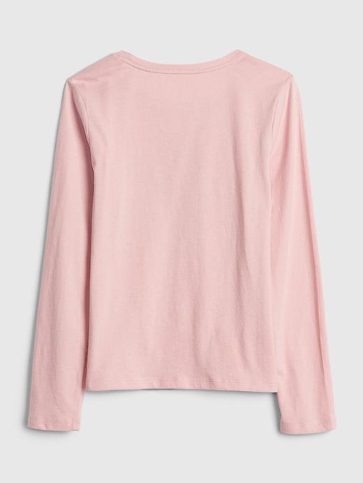 Kız Çocuk Bej Grafik Uzun Kollu T-Shirt
