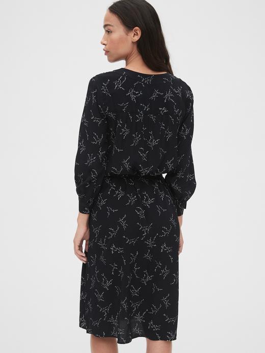 Kadın Siyah V Yaka Midi Gömlek Elbise