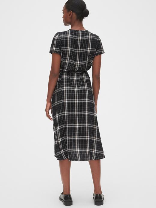 Kadın Siyah Ekose Midi Anvelop Elbise
