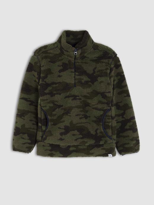 Erkek Çocuk Yeşil Sherpa Yarım Fermuarlı Sweatshirt