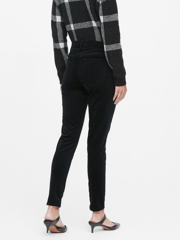 Kadın Siyah Mid-Rise Skinny Kadife Jean Pantolon