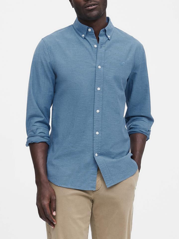Erkek Mavi Slim Oxford Gömlek
