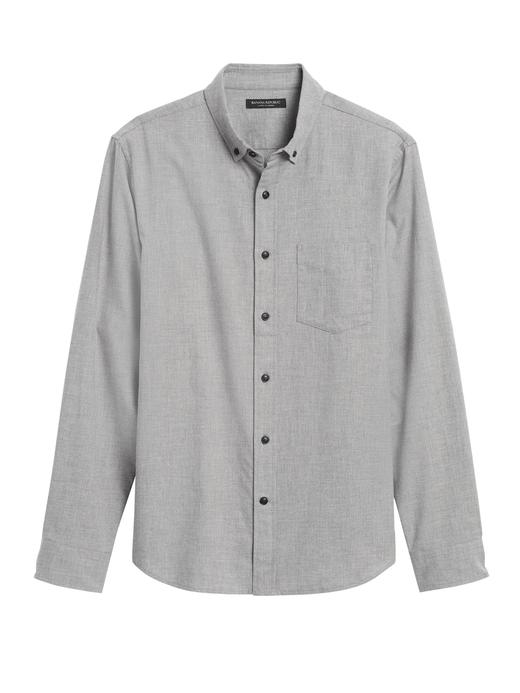 Erkek Gri Slim-Fit Flannel Gömlek