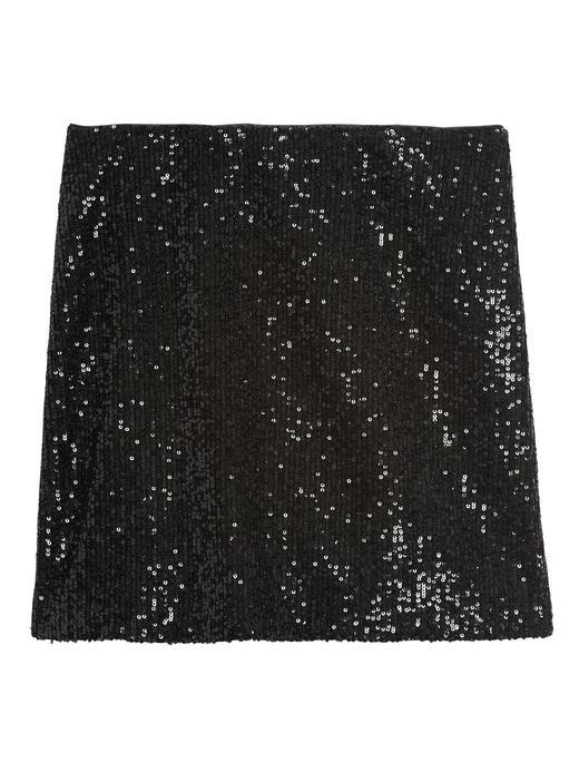 Kadın Siyah Payetli Mini Etek