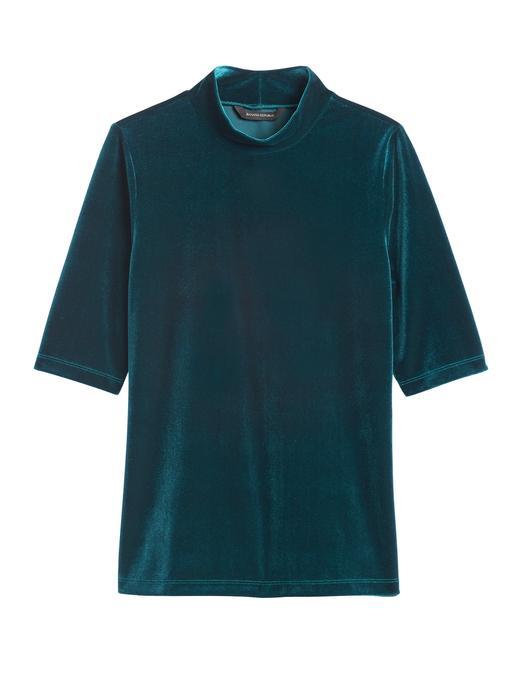 Kadın Yeşil Kadife Yarım Balıkıçı Yaka Bluz