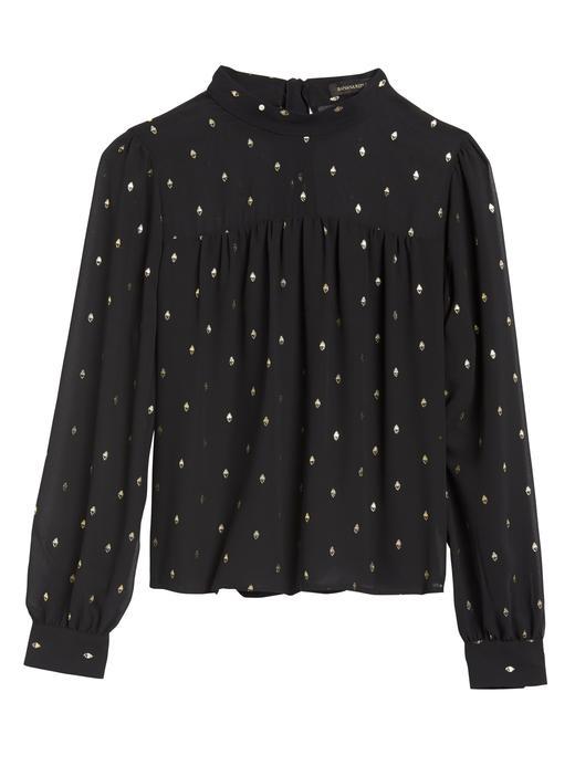 Kadın Siyah Metalik Detaylı Bluz
