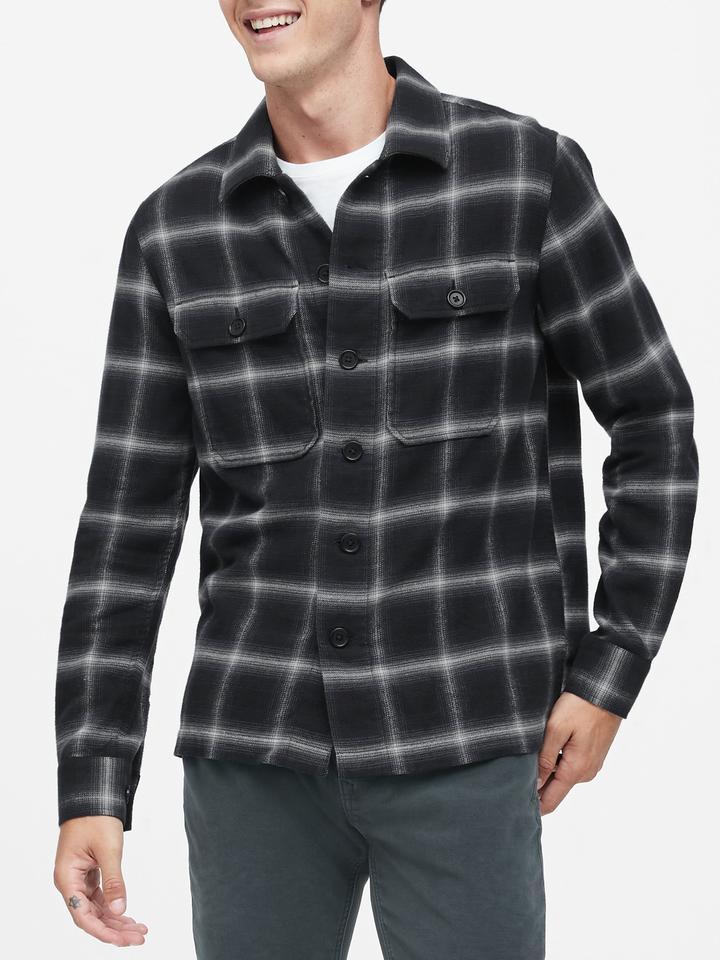 Erkek Lacivert Slim-Fit Gömlek Ceket