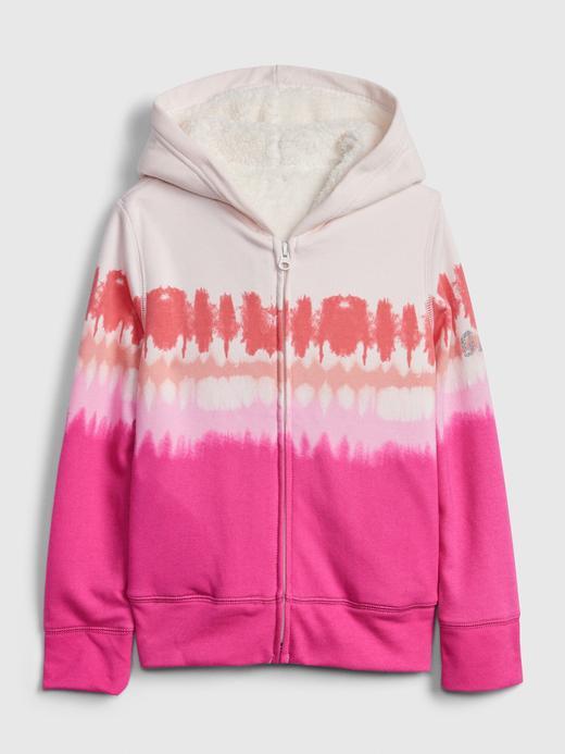 Kız Çocuk Pembe Gap Logo Sherpa Kapüşonlu Sweatshirt