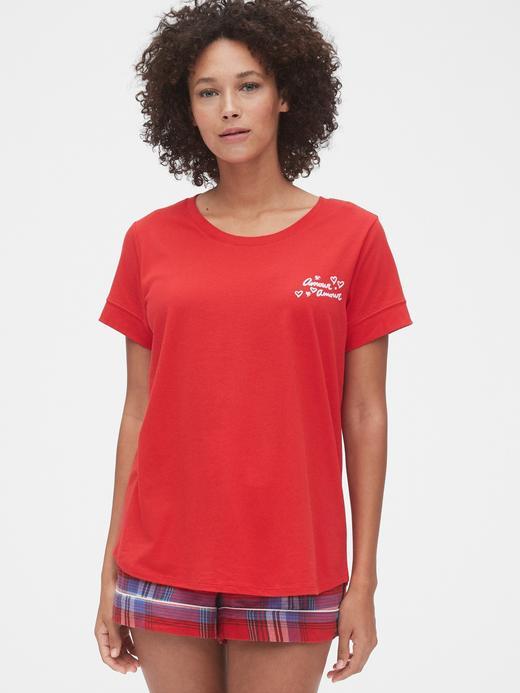 Kadın Kırmızı Grafik Kısa Kollu T-Shirt