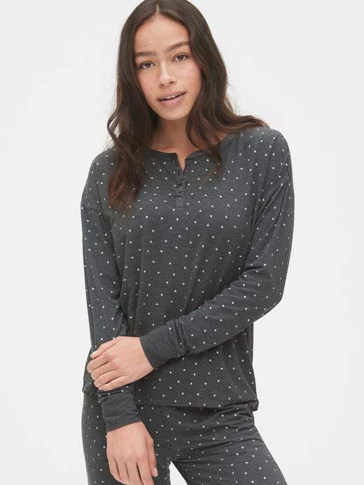 Kadın Gri Desenli Uzun Kollu T-Shirt