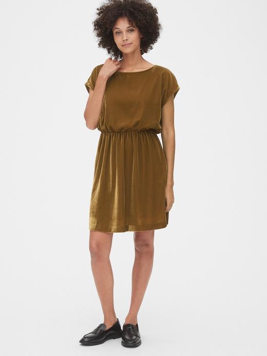 Kadın Kahverengi Kadife Elbise