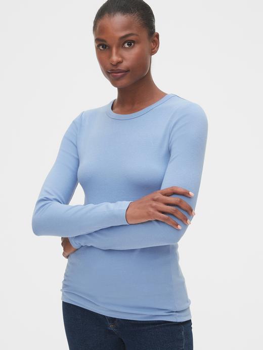Kadın Mavi Uzun Kollu Sıfır Yaka T-Shirt