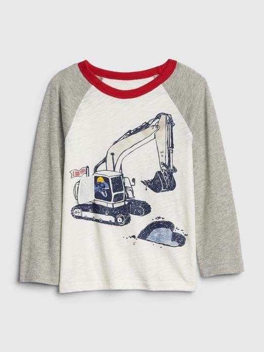 Erkek Bebek Bej Grafik Uzun Kollu T-Shirt