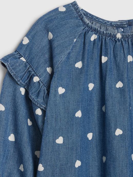 Kız Bebek Mavi Desenli Fırfırlı Denim Elbise