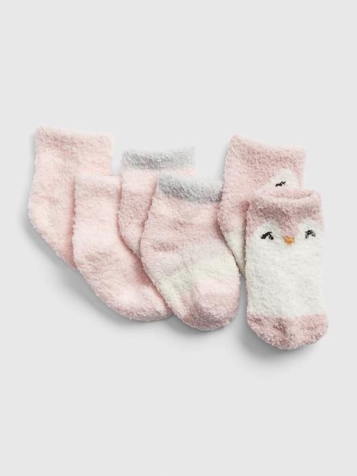 Kız Bebek Pembe 3'lü Penguen Desenli Çorap Seti