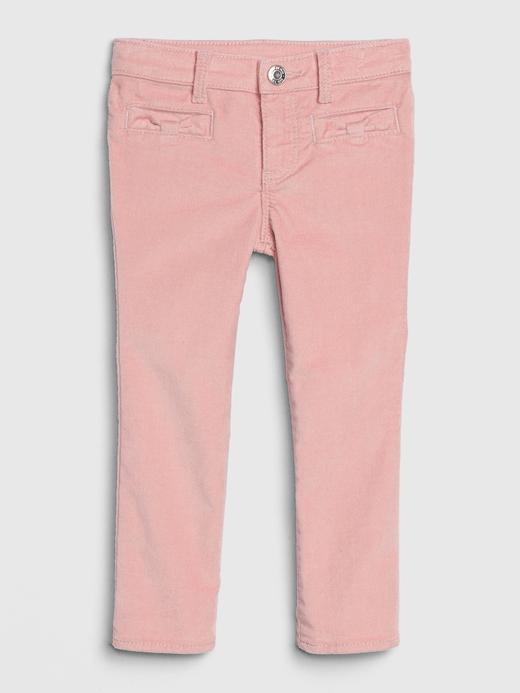 Kız Bebek Pembe Kadife Super Skinny Jean Pantolon