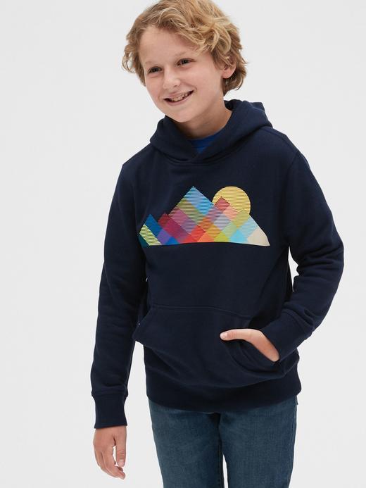 Erkek Çocuk Lacivert Grafik Kapüşonlu Sweatshirt