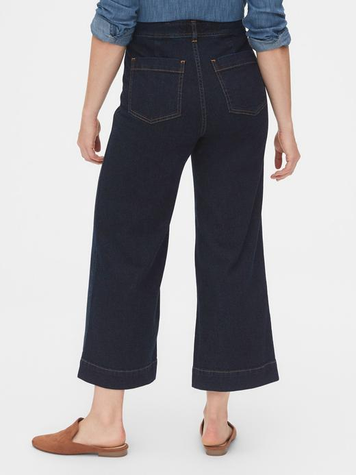 Kadın Lacivert High Rise Wide-Leg Crop Jean Pantolon