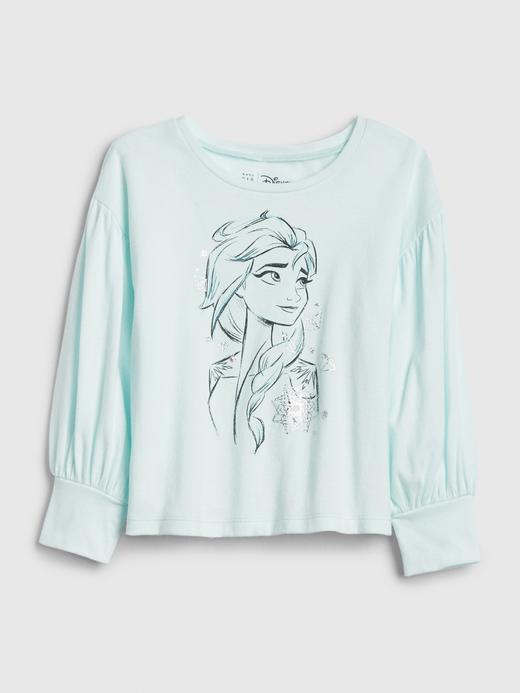 Kız Bebek Yeşil Disney Frozen Balon Kollu T-Shirt