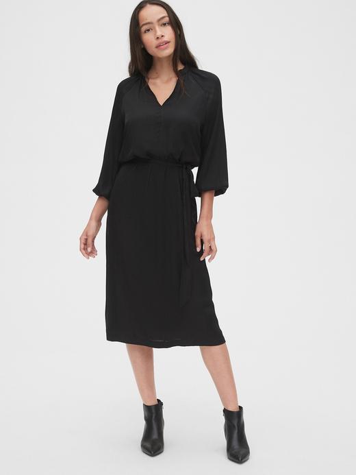 Kadın Siyah Midi Elbise