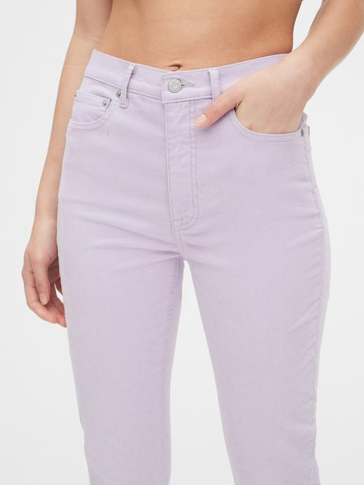 Kadın Mor High Rise Cigarette Kadife Pantolon