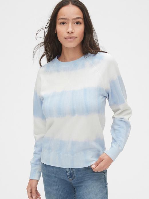Kadın Mavi Vintage Soft Yuvarlak Yaka Sweatshirt