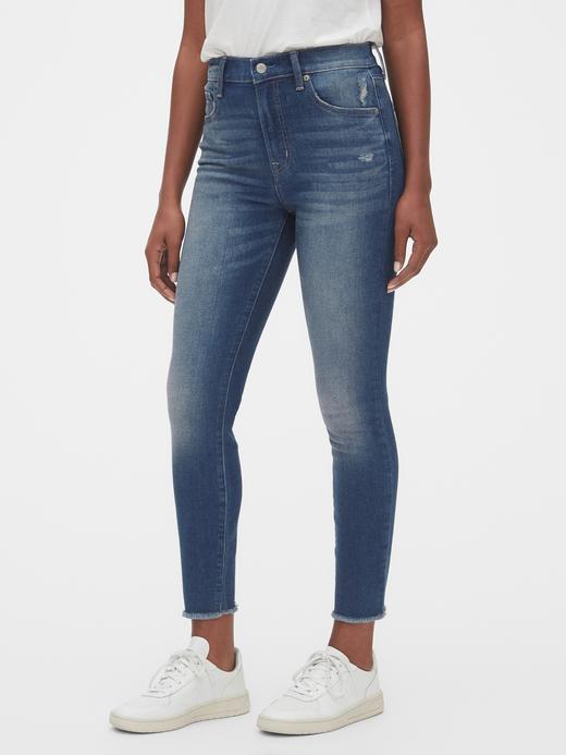 Kadın Mavi High Rise True Skinny Ankle Jean Pantolon