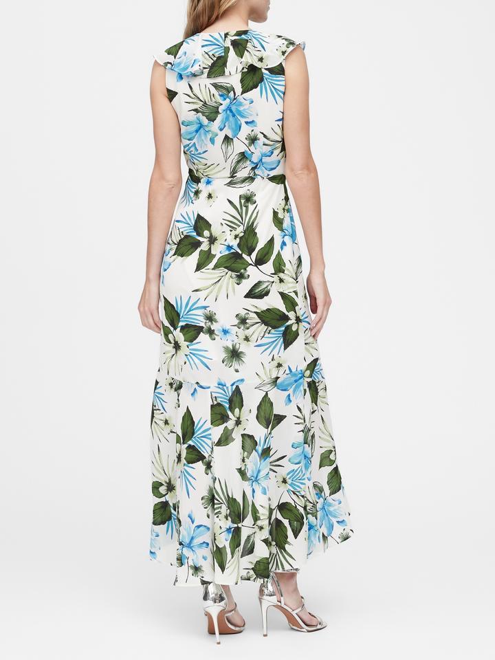 Kadın Beyaz Çiçek Desenli Anvelop Maxi Elbise