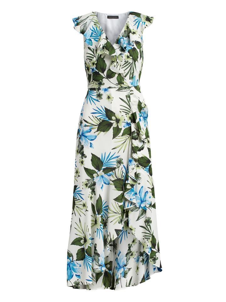 Çiçek Desenli Anvelop Maxi Elbise