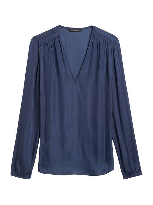 Kadın Lacivert Yumuşak Dokulu Saten Bluz