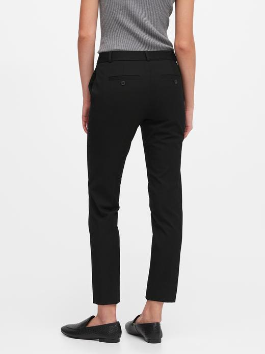 Kadın Siyah Avery Straight-Fit Ankle Pantolon