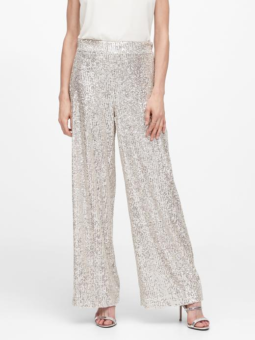Kadın Gri High-Rise Wide-Leg Pullu Pantolon