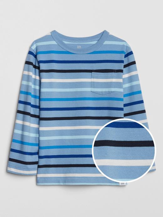 Erkek Bebek Mavi Uzun Kollu Çizgili T-Shirt
