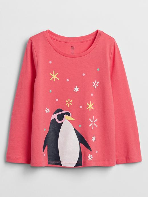 Kız Bebek Pembe Grafik Uzun Kollu T-Shirt