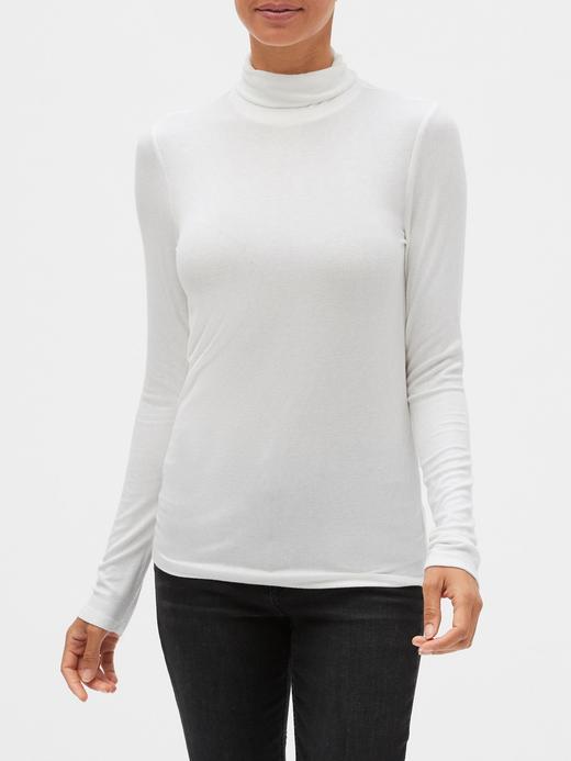 Kadın Beyaz Balıkçı Yaka Fitilli T-Shirt