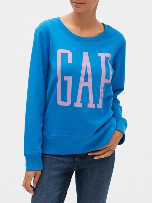 Kadın Mavi Gap Logo Metalik Sweatshirt