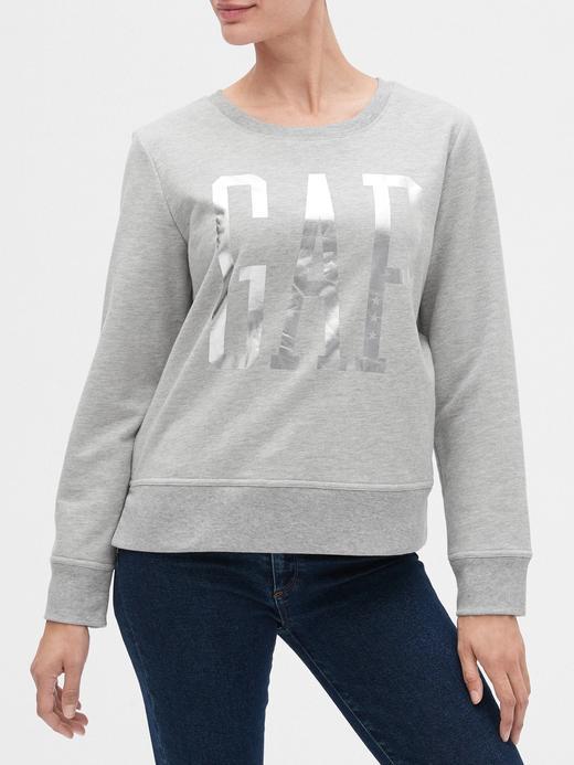 Kadın Gri Gap Logo Metalik Sweatshirt