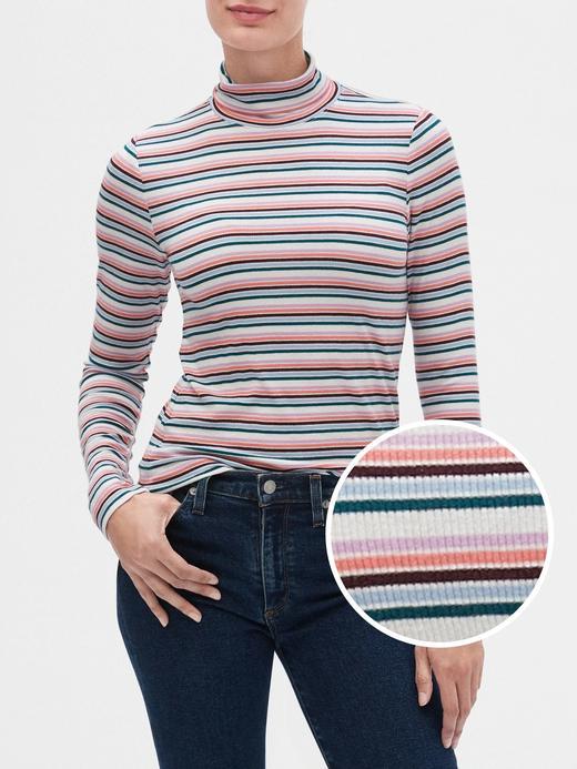 Kadın Çok Renkli Balıkçı Yaka Çizgili T-Shirt