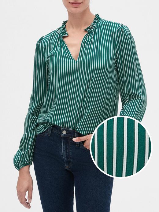 Kadın Yeşil Yakası Fırfırlı Bluz
