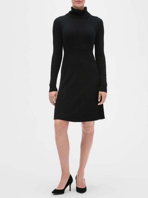 Kadın Siyah Balıkçı Yaka Triko Elbise