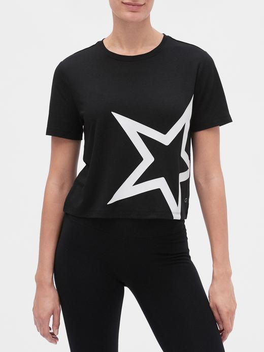 Kadın Siyah GapFit Kısa Kollu T-shirt