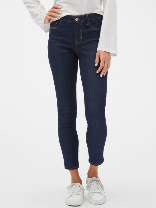Kadın Lacivert Mid Rise Cropped Favorite Legging Jean Pantolon