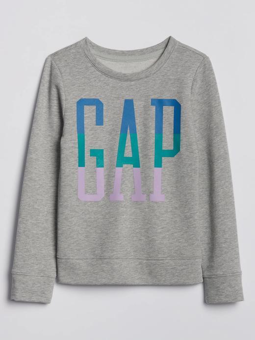 Kız Çocuk Gri Gap Logo Yuvarlak Yaka Sweatshirt