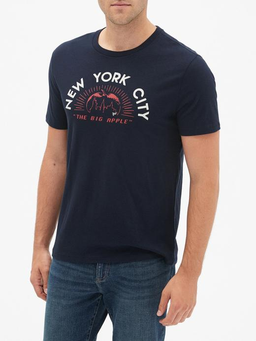 Erkek Lacivert Grafik Uzun Kollu T-Shirt