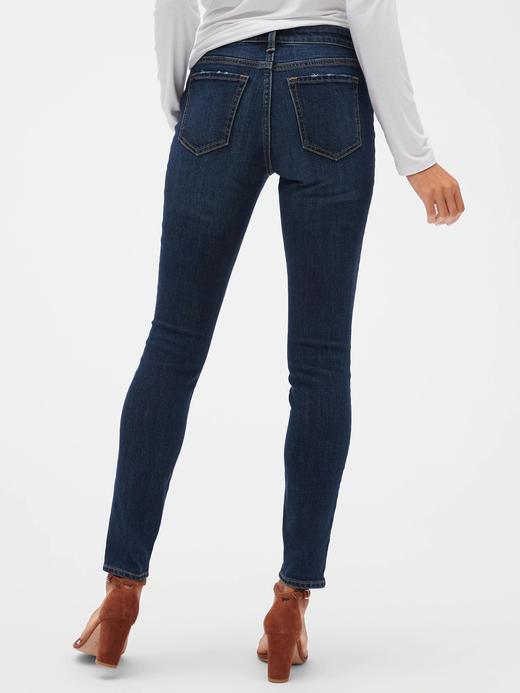 Kadın Mavi Mid Rise Legging Jean Pantolon