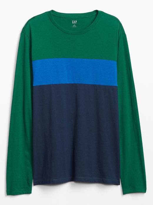 Erkek Yeşil Renk Bloklu Uzun Kollu T-Shirt