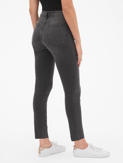 Kadın Siyah High Rise Legging Düğme Detaylı Jean Pantolon
