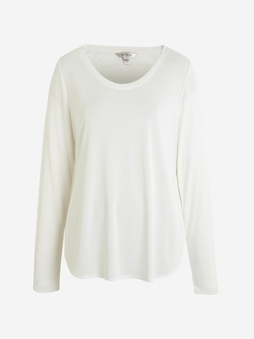 Kadın Beyaz Sandwash Yuvarlak Yaka T-Shirt