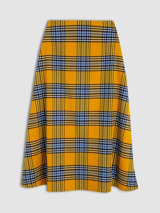 Kadın Sarı Desenli Maxi Etek