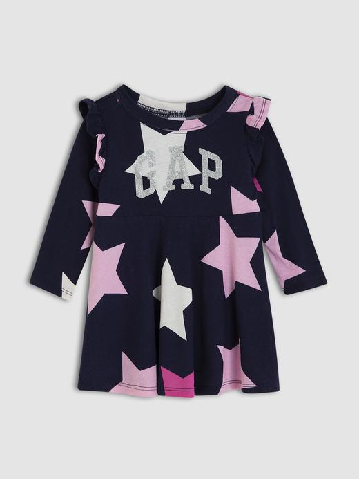 Kız Bebek Lacivert Gap Logo Fırfır Detaylı Elbise